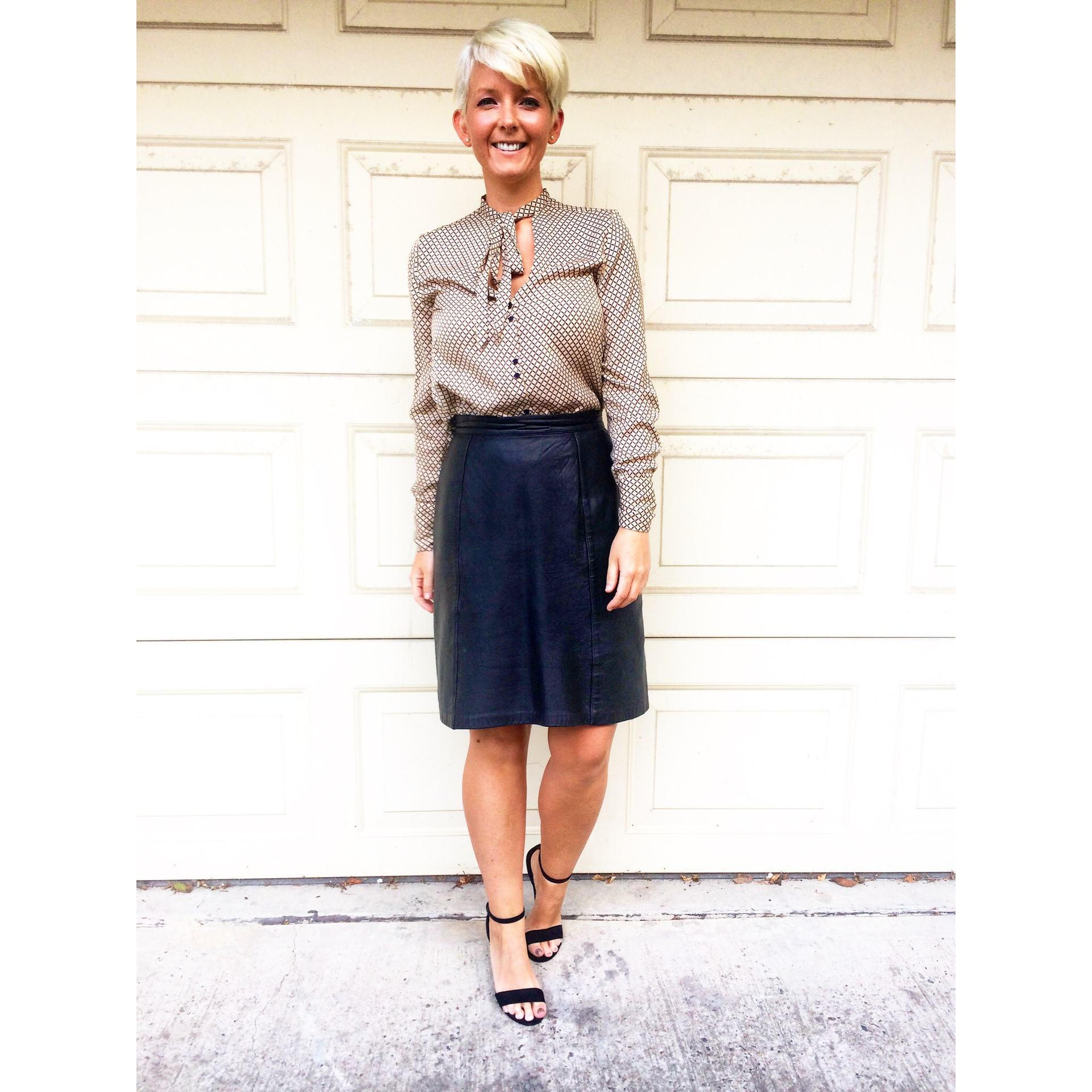 zara blouse, leather vintage skirt