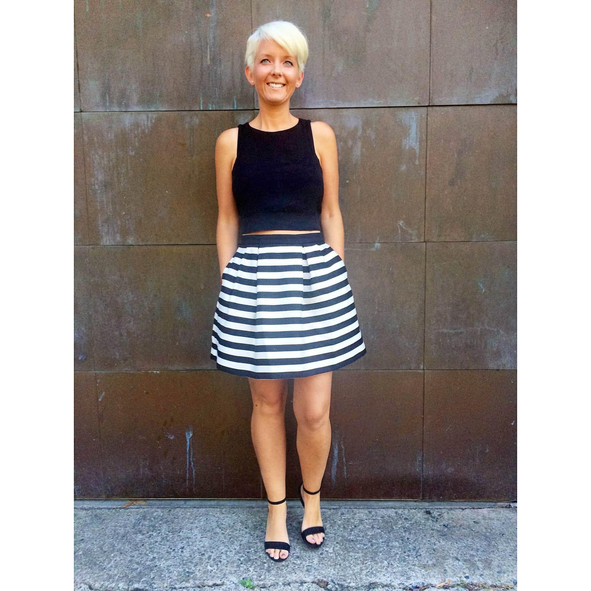 h&m stripe skirt