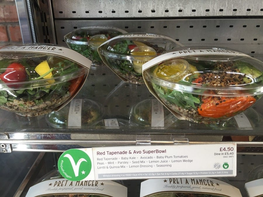 Pret vegan food