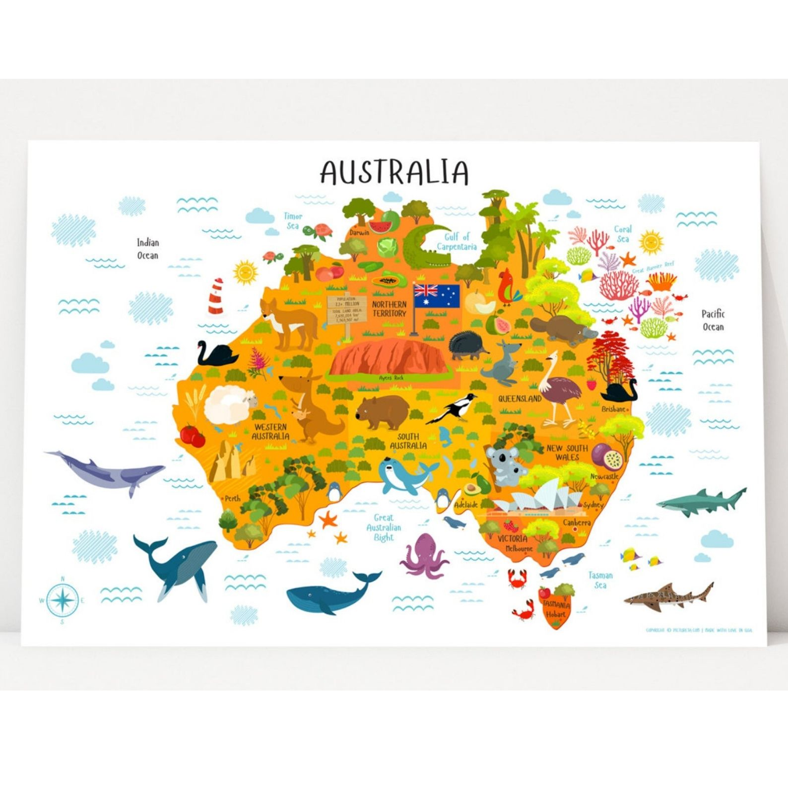 Australia On A Map.Kids Australia Map Poster
