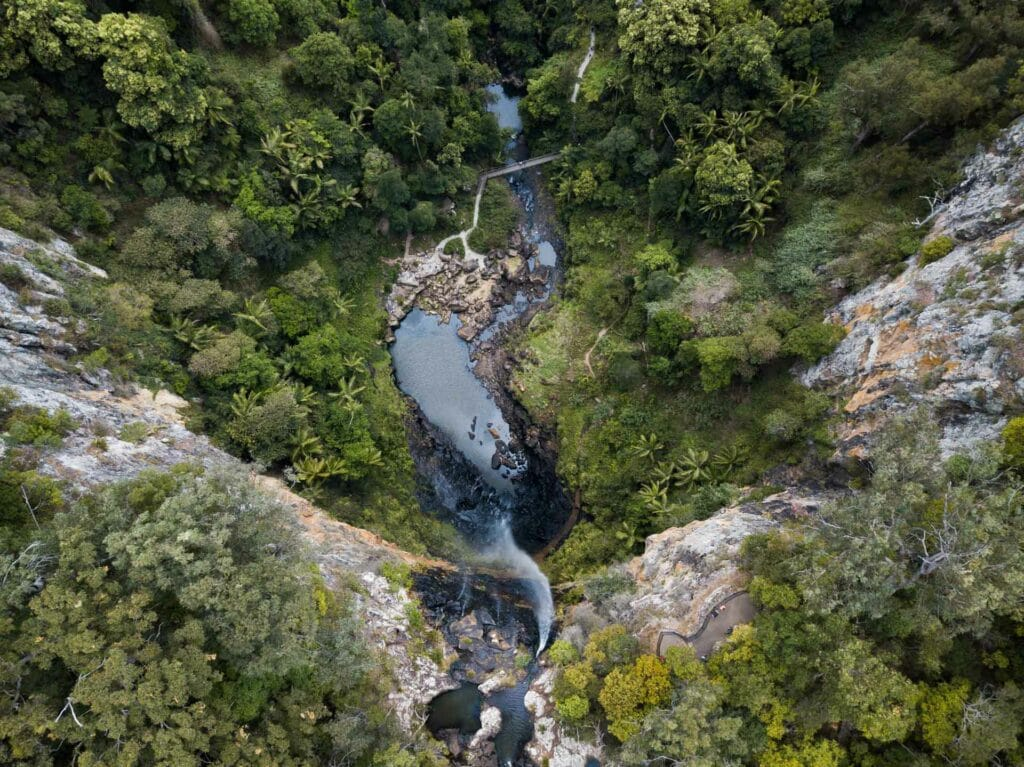 purling-brook-falls-drone-shot